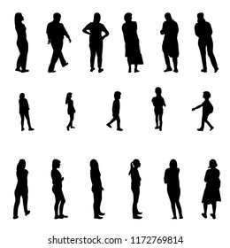 Set of Black and White Silhouette Walking People and Children.  Illustration.