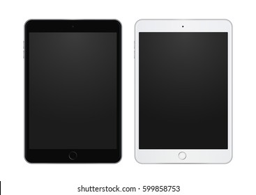Set of black and white tablet template, high quality illustration, clean and detailed.