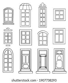 set of black window icons isolated on white. High quality illustration