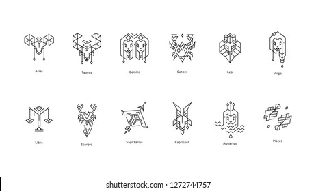 Set of Black Zodiac Line icons on white background. For logo design, interior design, wallpapers, mobile interface and web design, for printables and social media, for posters and t-shirts.