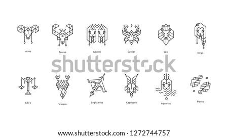 Set of Black Zodiac