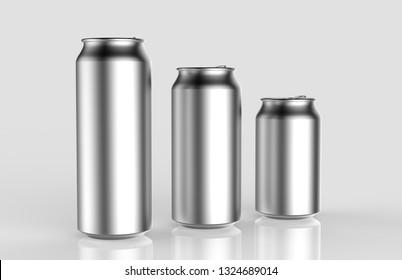 Set of Blank Aluminum Cans on light grey background, 3d illustration.