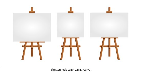 Set blank art board and realistic wooden easel. Wooden Brown  Easel with Mock Up Empty Blank Square Canvas Isolated on white background.