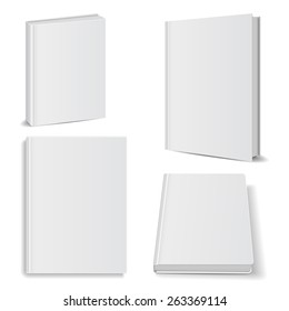 Set of blank books front view cover white
