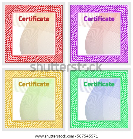 Set Blank Certificate Participation Illustration Graphic Stock