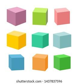 Set of blank colorful toy bricks illustration. Single cubes isolated on white background.