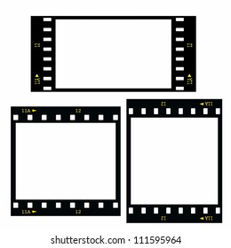 Set  blank film strip isolated on white background