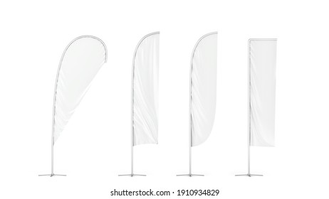 Set of blank flag banners. 3d illustration isolated on white background