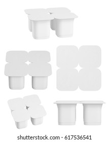 Set of blank pack of four yogurt  packaging. Mockup dessert plastic container isolated on white background. 3d render