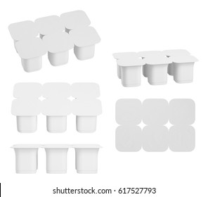 Set of blank pack of six yogurt  packaging. Mockup dessert plastic container isolated on white background. 3D Illustration