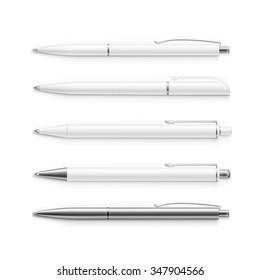 Set of Blank Pens Isolated on White Background