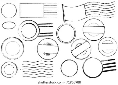 A set of blank postal marks and cancellations from the 1800s through the 1940s isolated on white. Ideal for bitmap brushes, retro collages, etc.