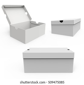 Set of Blank shoe boxes, isolated on a white background. Mockup for your design. 3D illustration