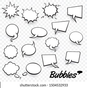 Set of blank template in Pop Art style. Raster Comic Text Speech Bubble Halftone Dot Background. Empty Cloud of Comics book dialog Space for Cartoon Box pop-art.