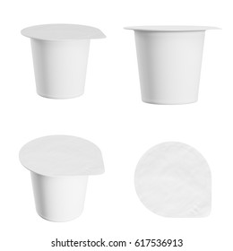 Set of blank yogurt  packaging. Mockup dessert plastic container isolated on white background with clipping path. 3d render