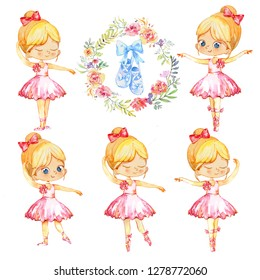 Set of Blond Ballerina Princess Character Dancer Girl. Cute Child Girls wearing pink Tutu Costume Training in School Class. Baby Ballet Shoes Poster Design Concept Watercolor Illustration. Isolated.
