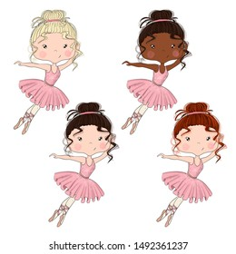 Set Blonde Brunette Red Hair African American Girls Ballerina Isolated on a White Background Hand Drawn Illustration