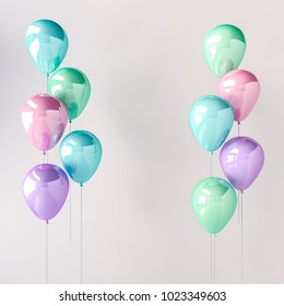 Set of blue, green, pink and purple glossy balloons on the stick on grey background. 3D render for birthday, party, wedding or promotion banners or posters. Pastel color and realistic illustration.
