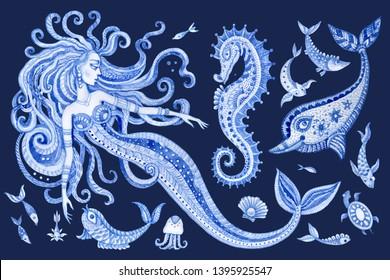 Set of blue hand painted fairy tale sea animals and mermaid. Watercolor painted fantasy fish, sea horse, dolphin, shells, bubbles on a dark indigo blue background. Batik paint, tee shirt print