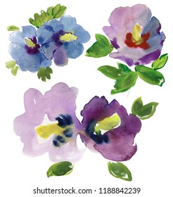 set of Blue Hibiscus flowers,watercolor painting. Manual composition. Mother's Day, wedding, birthday, Easter, Valentine's Day. Pastel colors. Spring. Summer.