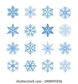 Set of blue isolated snowflakes icon silhouette on white background. Nice element for Christmas banner, cards. Flat snow icons, silhouette. New year ornament.