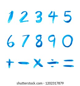 set of blue number hand drawn watercolor illustration on white background