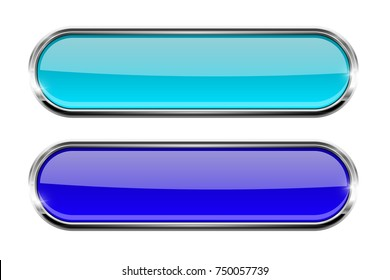 Set of blue oval glass buttons with metal frame. 3d illustration isolated on white background. Raster version
