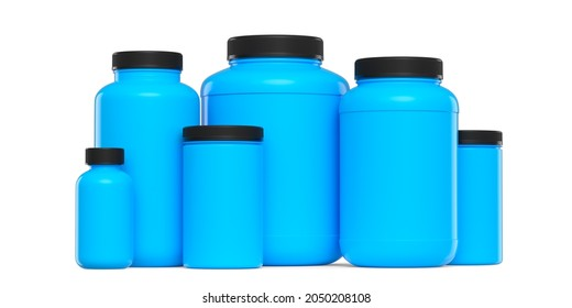 Set of blue plastic jar for sport nutrition whey protein and gainer powder isolated on white background. 3d rendering of sport supplement for crossfit, trx and powerlifting workout