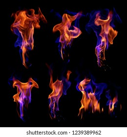 Set of blue and red fire flames isolated on black background