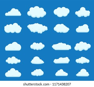 Set of blue sky, clouds. Cloud icon. illustration. illustration in flat style Raster version.