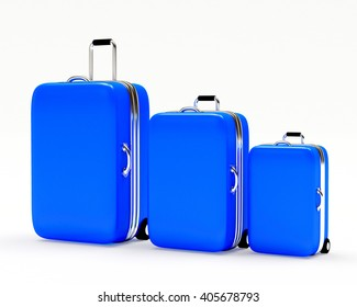 Set of blue suitcases large, medium and small isolated on white background. 3d illustration