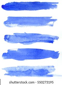 Set blue watercolor blobs, isolated on white background. Shape design blank watercolor colored rounded shapes web buttons on white background. Divorces paint.