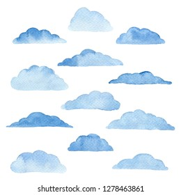 Set of blue watercolor clouds on the white background. Template for weather illustrations. Abstract modern background.