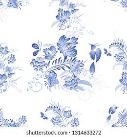 Set of blue watercolor flowers and bird with watercolor roses, crystals and butterflies in the bohemian style, decoration flower botanical collections. Traditional Russian style Gzhel.