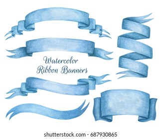 A set of blue watercolor ribbon banners. Hand drawing.