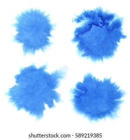 Set of blue watercolor stains isolated over the white background. Raster illustration