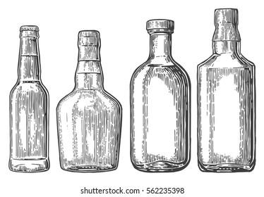 Set bottle for beer, rum, whiskey, tequila. engraved illustration isolated on white vintage background.