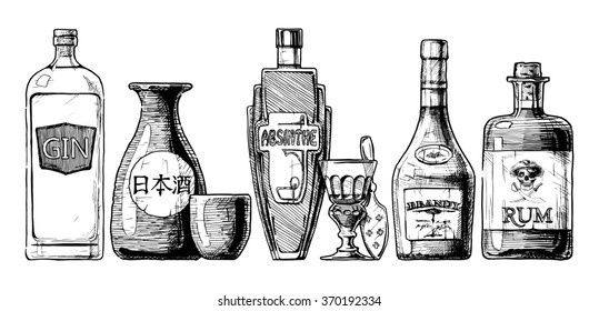 set of bottles of alcohol in ink hand drawn style. isolated on white. Distilled beverage. Gin, sake, absinthe, brandy, rum.