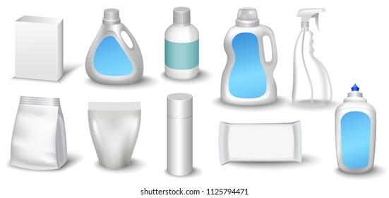 A set of bottles of detergents for washing. Blank plastic bottle for laundry detergent.  bottle for your design. Realistic  image.