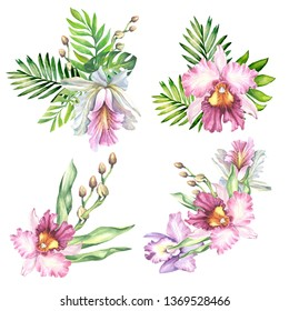 set of bouquets with tropical flowers.watercolor