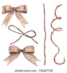 set of bow from rope, ribbon watercolor illustration for decoration