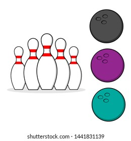 Set of bowling. Skittles and bowling ball for your design.  illustration