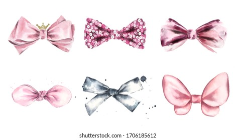 Set of bows and satin and sequin ribbons. Pink cute illustrations for design of cards, invitations, logo design.
