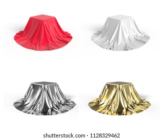 Set of boxes covered with silk fabric in red, white, golden and silver, isolated on white background. 3D illustration.