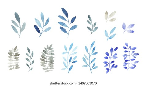 Set of branches in blue and gray colors.  Modern watercolor