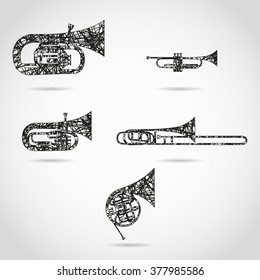set of brass instruments for orchestra. painted design