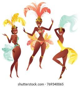 Set of Brazilian samba dancers carnival girls wearing a festival costume is dancing.