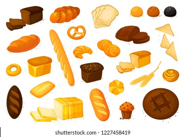 Set  bread icons.  illustration isolated on a white background. Bakery product in cartoon style. Rye, whole grain and wheat bread, pretzel, muffin, pita , ciabatta, croissant, bagel, toast bread, fren