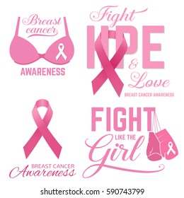 Set of Breast cancer awareness pink card. Fight like the Girl. For poster, flyer or banner. Breast Cancer Awareness design.