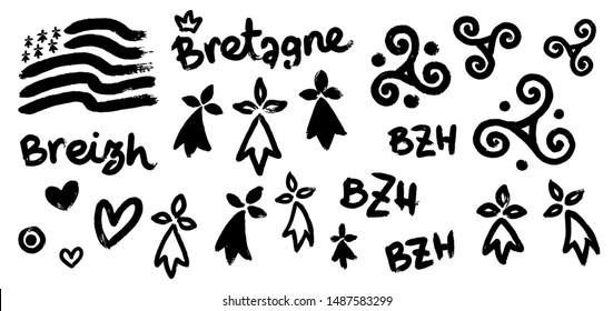 Set of breton hand-drawn symbols in grunge style: Gwen-ha-du black and white flag of Brittany , doodle triskels, line-art hermines, Bretagne, Breizh and BZH letterings.